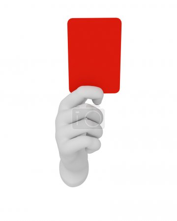 3d white human open hand holds a red card. White background.