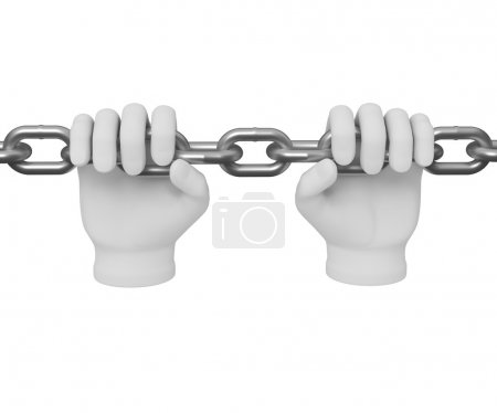 3d white human hand grasps the chain 3d. White background.
