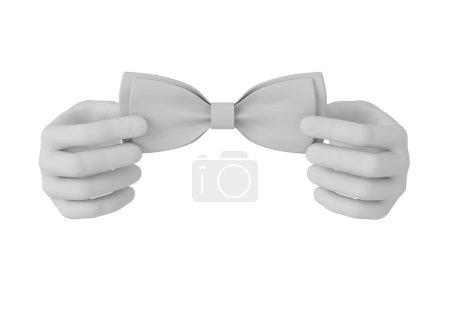 3d white human hand straightens bow tie . White background.