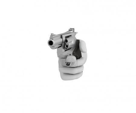 Hand in a white glove holding a revolver. 3d render. White backg