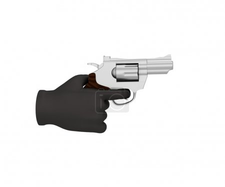 Hand in a black glove holding a revolver. 3d render. White backg