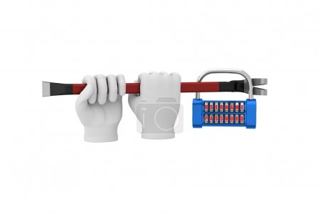 Hands in white gloves with a crowbar hack the padlock. 3d render