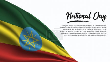 Illustration for National Day Banner with Ethiopia Flag background. It will be used for Poster, Greeting Card. Vector Illustration. - Royalty Free Image