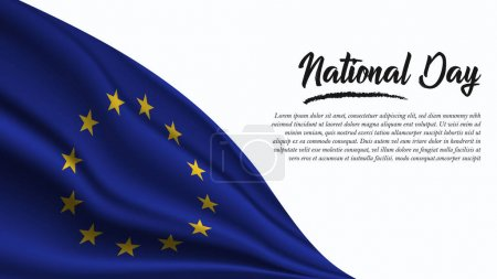 Illustration for National Day Banner with European Union Flag background. It will be used for Poster, Greeting Card. Vector Illustration. - Royalty Free Image