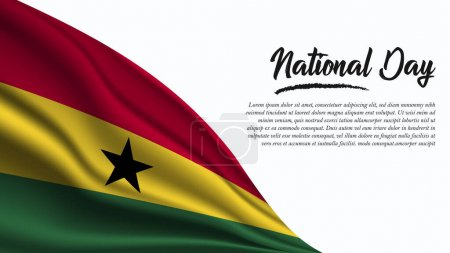 Illustration for National Day Banner with Ghana Flag background. It will be used for Poster, Greeting Card. Vector Illustration. - Royalty Free Image