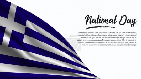 Illustration for National Day Banner with Greece Flag background. It will be used for Poster, Greeting Card. Vector Illustration. - Royalty Free Image