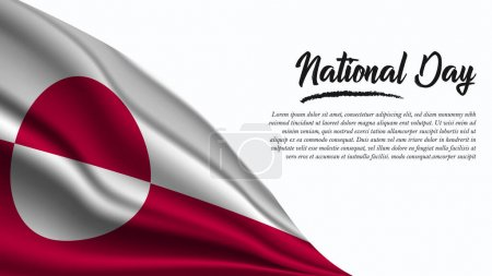 Illustration for National Day Banner with Greenland Flag background. It will be used for Poster, Greeting Card. Vector Illustration. - Royalty Free Image