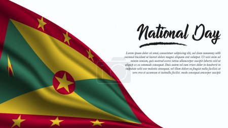 Illustration for National Day Banner with Grenada Flag background. It will be used for Poster, Greeting Card. Vector Illustration. - Royalty Free Image