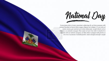 Illustration for National Day Banner with Haiti Flag background. It will be used for Poster, Greeting Card. Vector Illustration. - Royalty Free Image