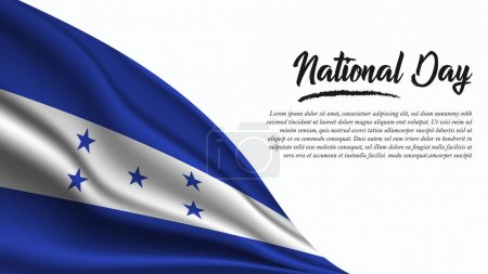 Illustration for National Day Banner with Honduras Flag background. It will be used for Poster, Greeting Card. Vector Illustration. - Royalty Free Image