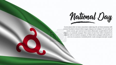 Illustration for National Day Banner with Ingushetia Flag background. It will be used for Poster, Greeting Card. Vector Illustration. - Royalty Free Image