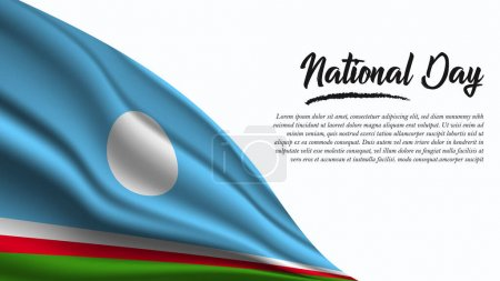Illustration for National Day Banner with Sakha Republic Flag background. It will be used for Poster, Greeting Card. Vector Illustration. - Royalty Free Image