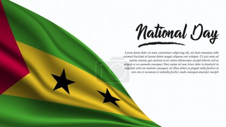 Illustration for National Day Banner with Sao Tome and Principe Flag background. It will be used for Poster, Greeting Card. Vector Illustration. - Royalty Free Image