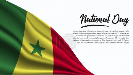 Illustration for National Day Banner with Senegal Flag background. It will be used for Poster, Greeting Card. Vector Illustration. - Royalty Free Image