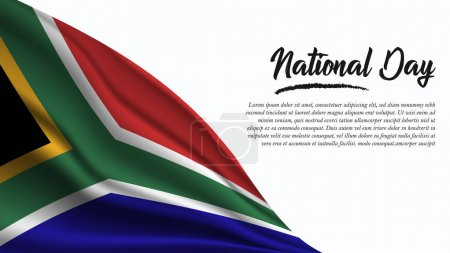 Illustration for National Day Banner with South Africa Flag background. It will be used for Poster, Greeting Card. Vector Illustration. - Royalty Free Image