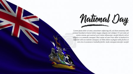 Illustration for National Day Banner with South Georgia and the South Sandwich Islands Flag background. It will be used for Poster, Greeting Card. Vector Illustration. - Royalty Free Image