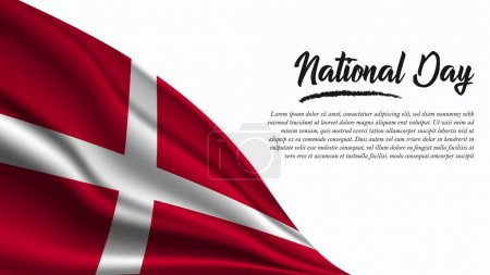 Illustration for National Day Banner with Sovereign Military Order of Malta Flag background. It will be used for Poster, Greeting Card. Vector Illustration. - Royalty Free Image