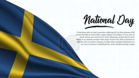 Illustration for National Day Banner with Sweden Flag background. It will be used for Poster, Greeting Card. Vector Illustration. - Royalty Free Image