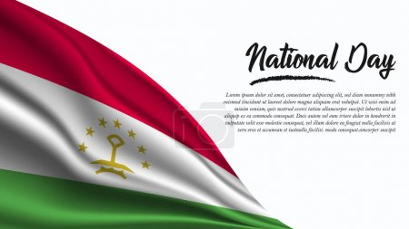 Illustration for National Day Banner with Tajikistan Flag background. It will be used for Poster, Greeting Card. Vector Illustration. - Royalty Free Image