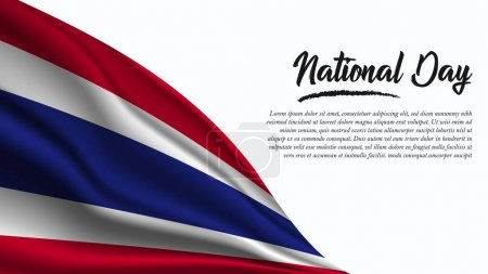 Illustration for National Day Banner with Thailand Flag background. It will be used for Poster, Greeting Card. Vector Illustration. - Royalty Free Image