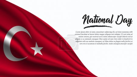 Illustration for National Day Banner with Turkey Flag background. It will be used for Poster, Greeting Card. Vector Illustration. - Royalty Free Image