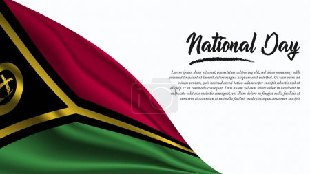 Illustration for National Day Banner with Vanuatu Flag background. It will be used for Poster, Greeting Card. Vector Illustration. - Royalty Free Image