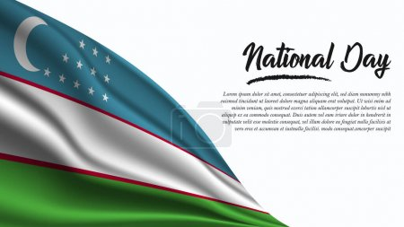 Illustration for National Day Banner with Uzbekistan Flag background. It will be used for Poster, Greeting Card. Vector Illustration. - Royalty Free Image