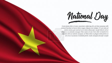 Illustration for National Day Banner with Vietnam Flag background. It will be used for Poster, Greeting Card. Vector Illustration. - Royalty Free Image