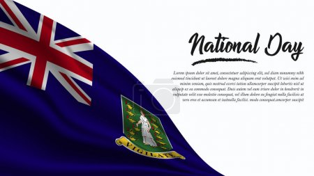 Illustration for National Day Banner with Virgin Islands Flag background. It will be used for Poster, Greeting Card. Vector Illustration. - Royalty Free Image