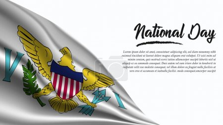 Illustration for National Day Banner with Virgin Islands Us Flag background. It will be used for Poster, Greeting Card. Vector Illustration. - Royalty Free Image