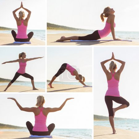 Collage of different yoga poses by young woman on the beach