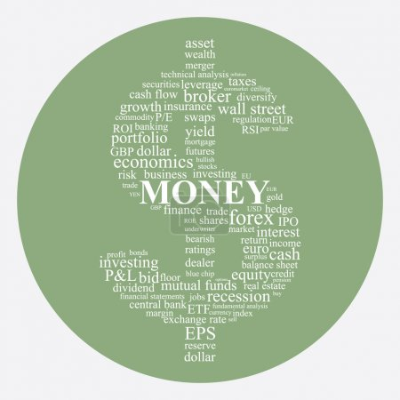 Money and Investing concept illustration in a dollar shape word collage