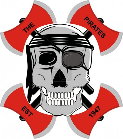 Pirate skull red ax