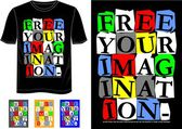 T-shirt vector typography with color black white red blue gray yellow