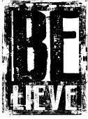 Design vector typography abstract BELIEVE color black
