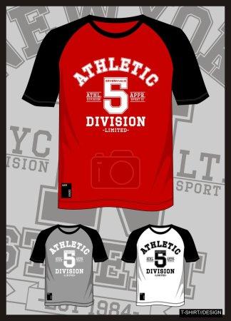 Illustration pour T-shirt vecteur raglan athlétique avec couleur noir blanc gris et rouge - image libre de droit