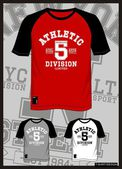 T shirt vector raglan athletic with color black white gray and red