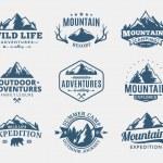 Set of vector mountain and outdoor adventures logo...