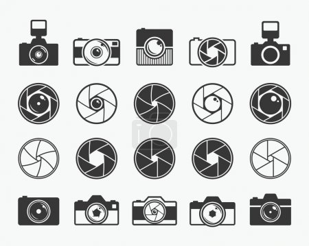 Illustration for Camera shutter, lenses and photo camera icons set. Aperture and photography vector illustration for photo studio, photographer and digital media - Royalty Free Image