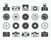 Camera shutter lenses and photo camera icons