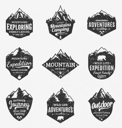 Set of retro styled vector mountain and outdoor adventures logo
