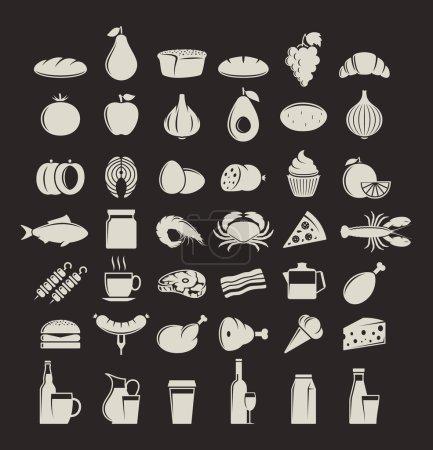 Photo pour Aliments vectoriels et boissons icônes. Viande, fruits de mer, fruits et légumes icônes pour l'épicerie, l'épicerie, l'étiquette des produits biologiques, l'emballage et la publicité . - image libre de droit