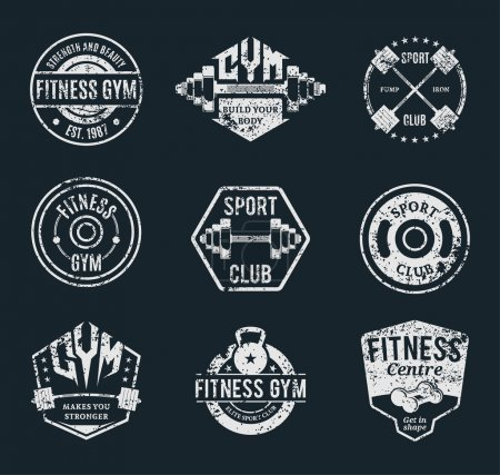 Set of Vector Grungy Gym and Fitness Logotypes, Labels, Templates and Athletic Badges