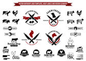 Vector Butchery Logo Templates Labels Icons and Design Elements