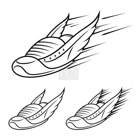 Running winged shoe icons, sports shoe with motion trails