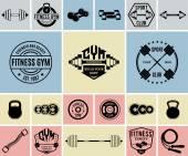 Vector Fitness e palestra loghi, icone e modelli di etichette