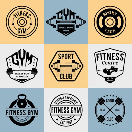 Vector Fitness and Gym Logotypes, Labels Templates and Athletic Badges