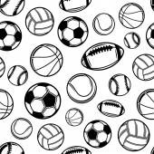 Sports Balls Background, Seamless Pattern, Icons