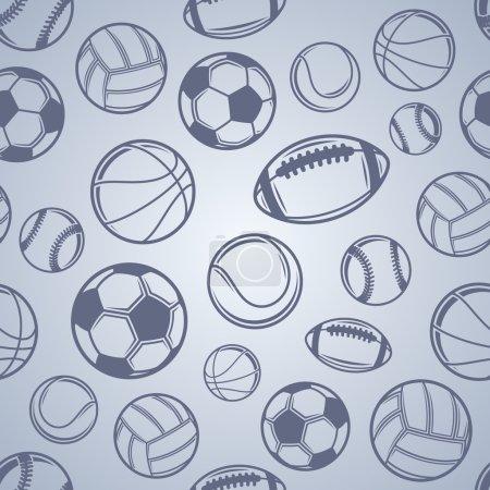 Sports Balls Background, Seamless Pattern