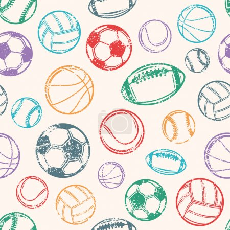 Sports Balls, Grunge Background, Seamless Pattern